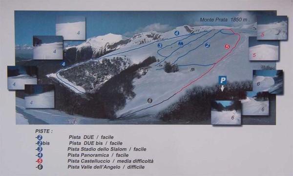 cartina piste impianti sci snowboard monte prata monti sibillini tariffe skipass castelsantangelo sul nera