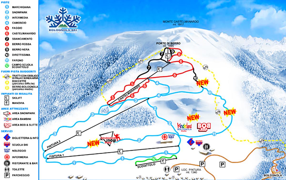 Cartina degli impianti e mappa delle piste della località invernale Pintura di Bolognola