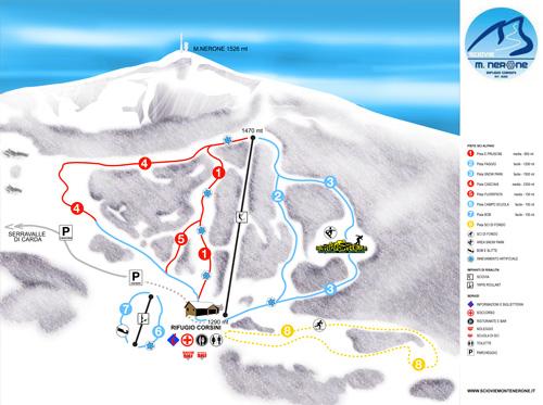 Cartina impianti e piste del Monte Nerone