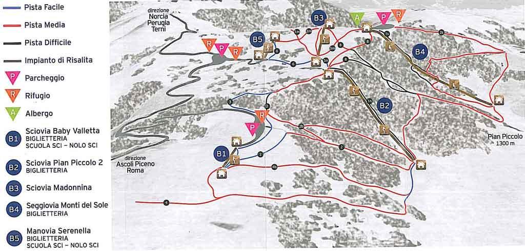 Cartina piste e impianti Forca Canapine