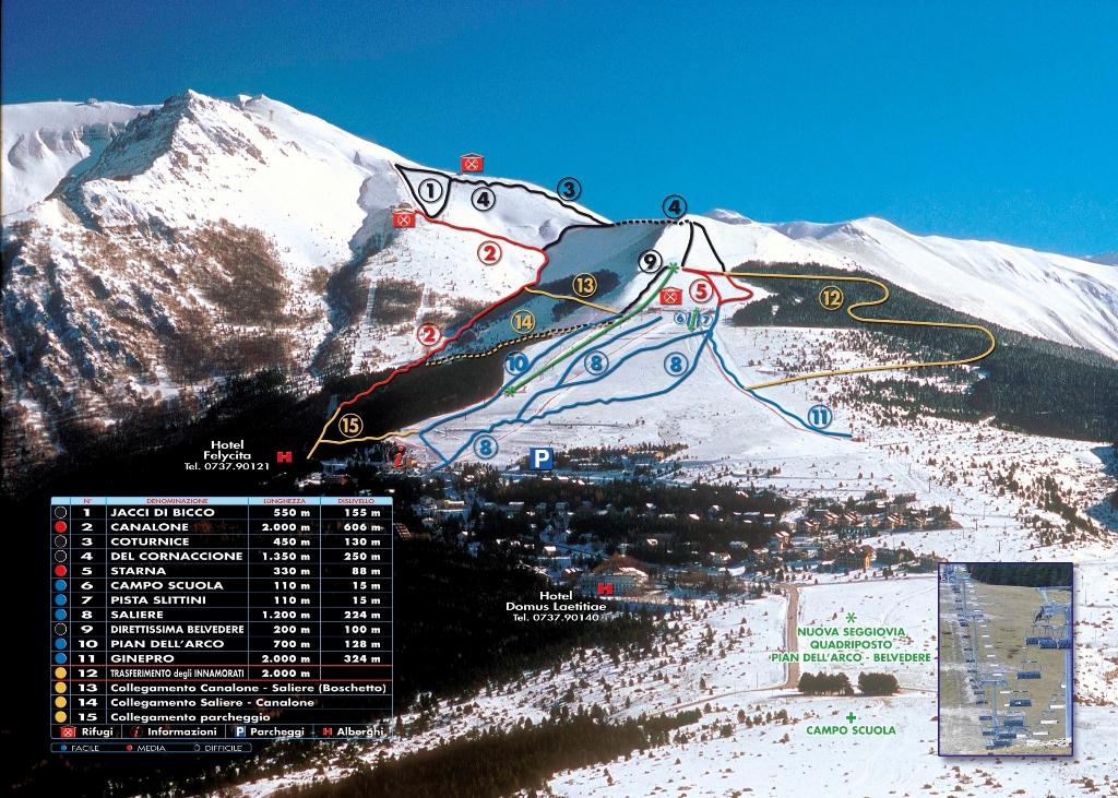 Cartina impianti e mappa piste della stazione sciistica di Frontignano di Ussita
