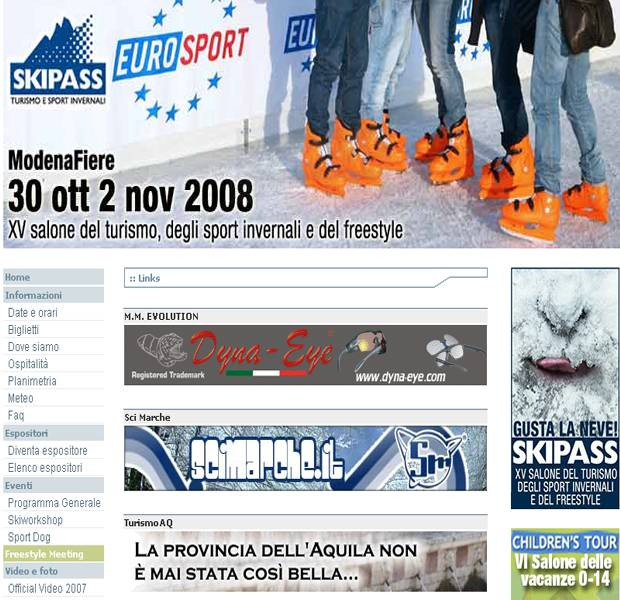 screenshot del sito skipass