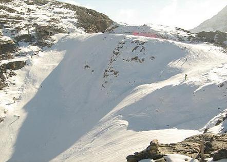 parte alta della pista con un trivio (a sinistra è un muro)