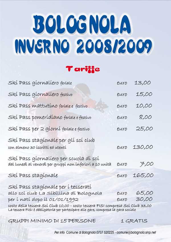 Listino prezzi skipass Bolognola stagione 2008 2009