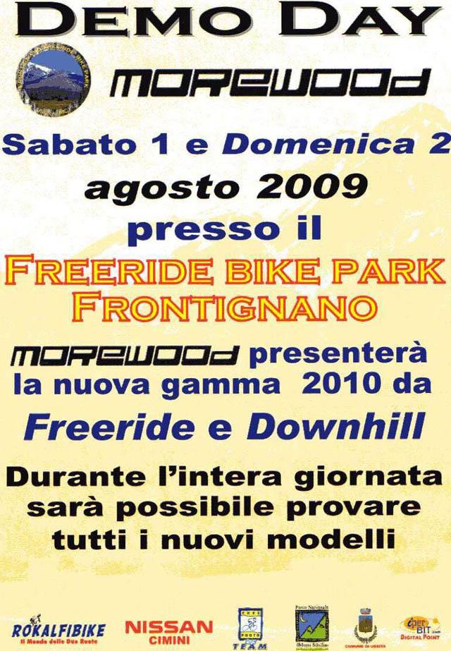 locandina Freeride Park Frontignano Demo Day MoreWood