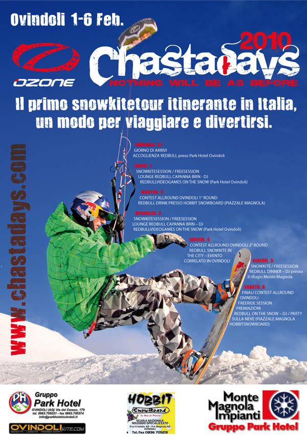 locandina Chasta Day 2010 Snowkite Italian Tours Ovindoli