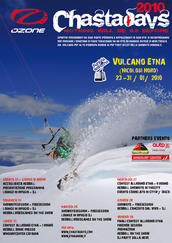 locandina Chasta Day 2010 Snowkite Italian Tours Etna