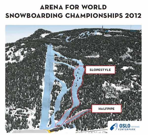 area per il campionato mondiale di snowboard