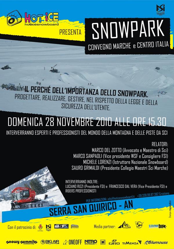 flyer Snowpark convegno Marche e Centro Italia 2010
