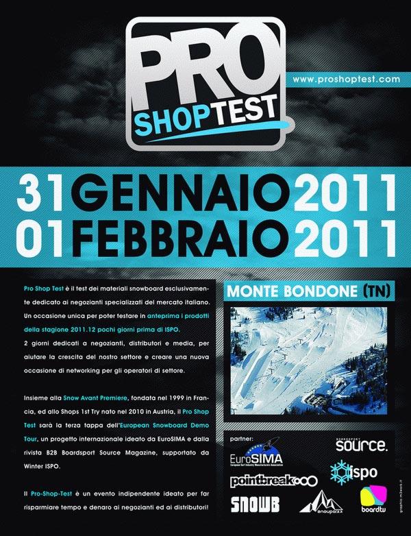 locandina pro shop test 2011 monte bondone tn