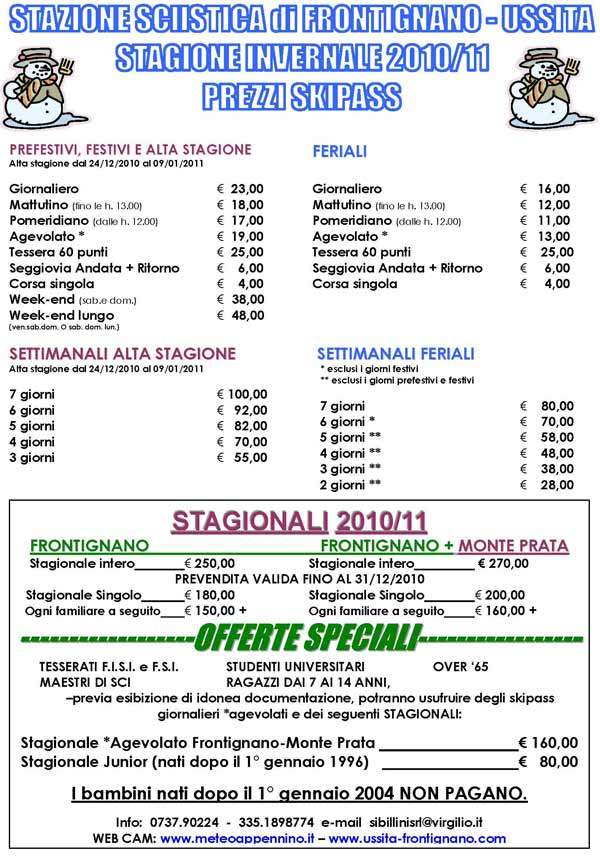 volantino tariffe Skipass stagione invernale 2010/11 stazione sciistica di Frontignano