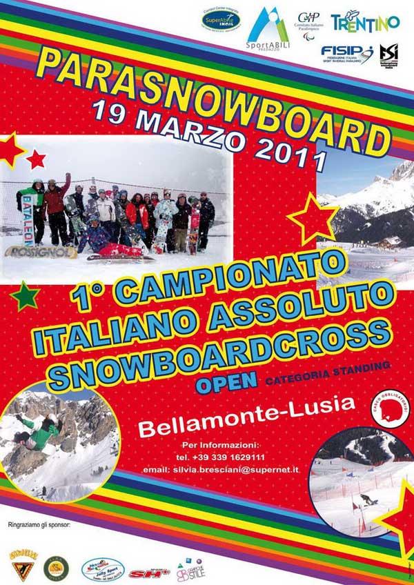locandina campionati italiani parasnowboarding 2011 Bellamonte Val di Fiemme