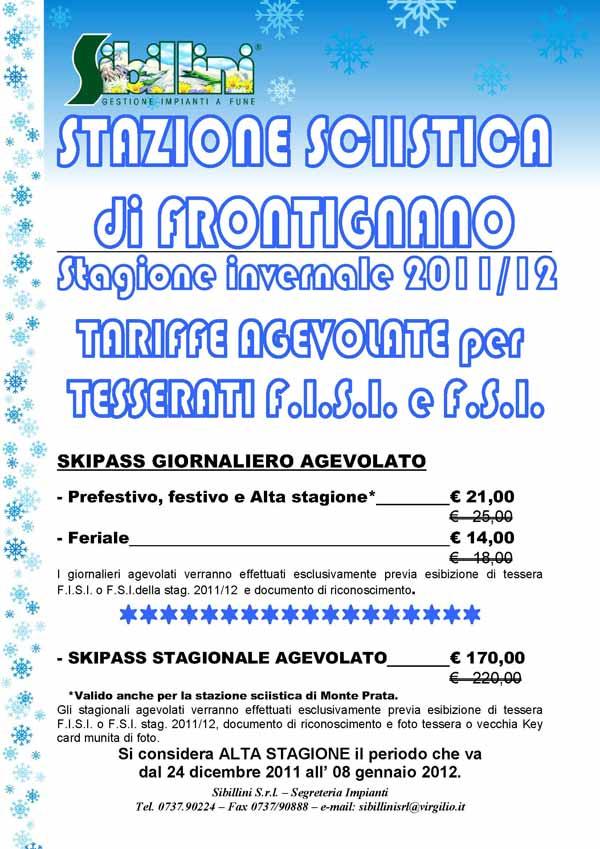 locandina frontignano di ussita tariffe agevolate skipass sciclub 2011 2012