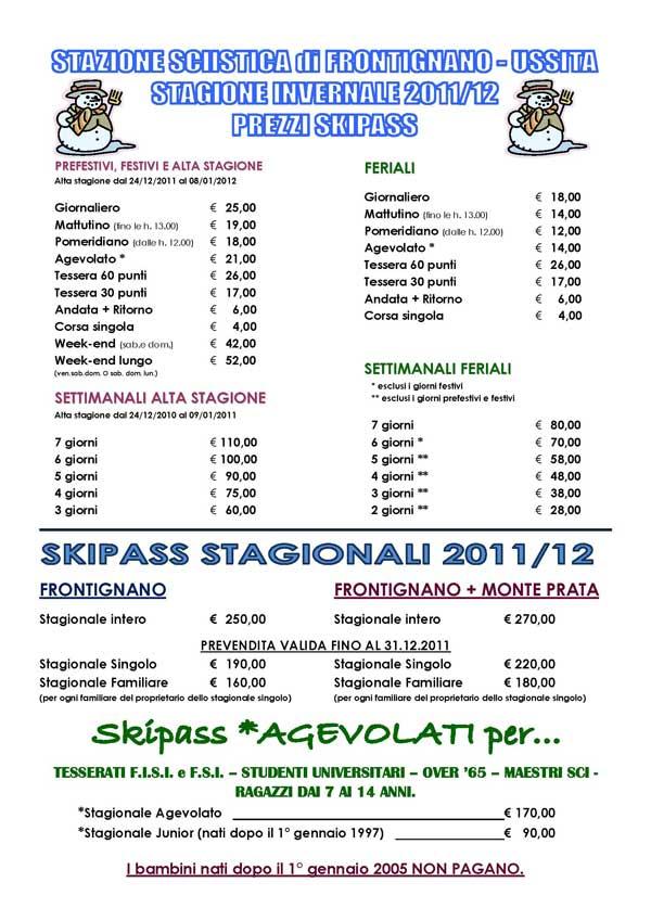 locandina prezzi skipass frontignano di ussita 2011 2012