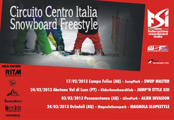 flyer circuito centro italia snowboard freestyle 2012-13