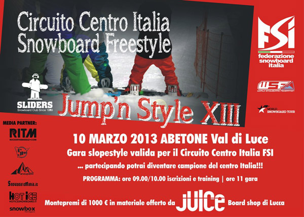 flyer gara slopestyle jump n style xiii abetone val di luce 10.03.2013