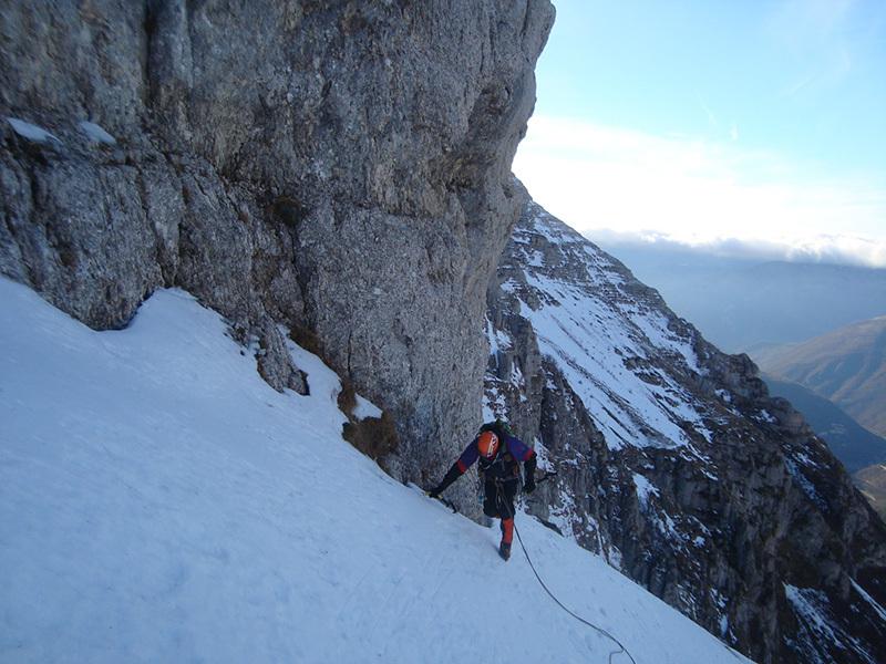 foto Monte Bove Nord e la ripetizione invernale della Via Alletto - Consiglio - Francesco Cianconi e Carlo Minnozzi