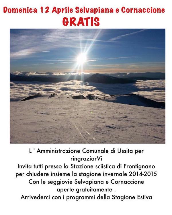 locandina Domenica 12 aprile 2015 si scia gratis a Frontignano di Ussita