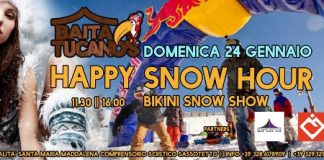 locandina Party Happy Snow Hour – Baita Tucano's – Santa Maria Maddalena - Sarnano