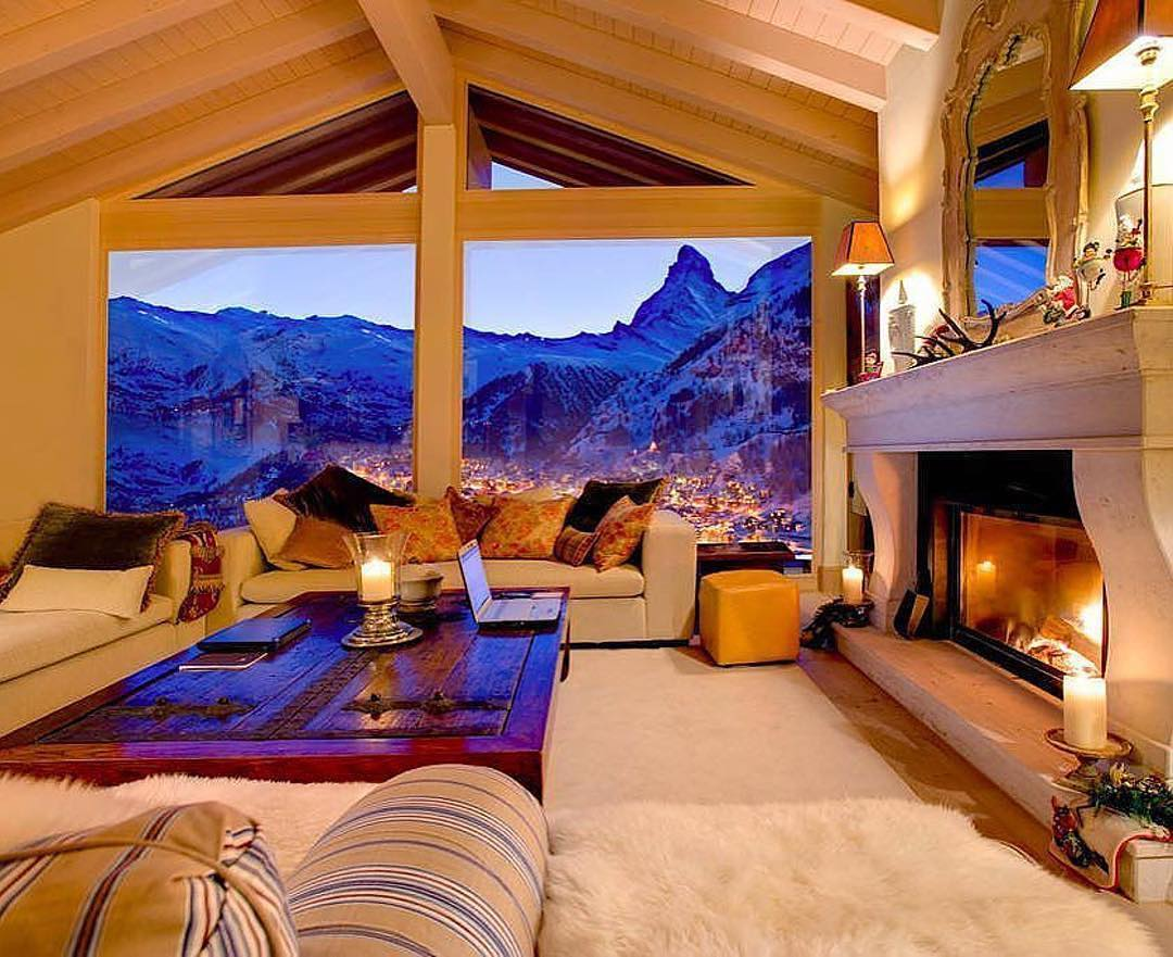 interno chalet montagna neve