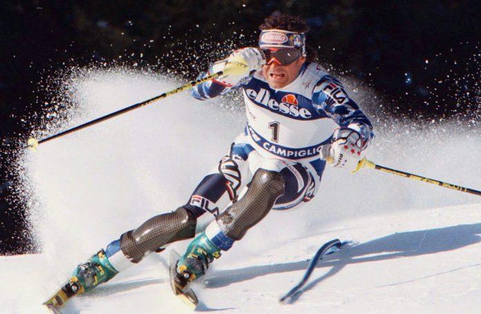 Alberto Tomba in azione durante la gara di slalom - Madonna di Campiglio - 17.12.1996