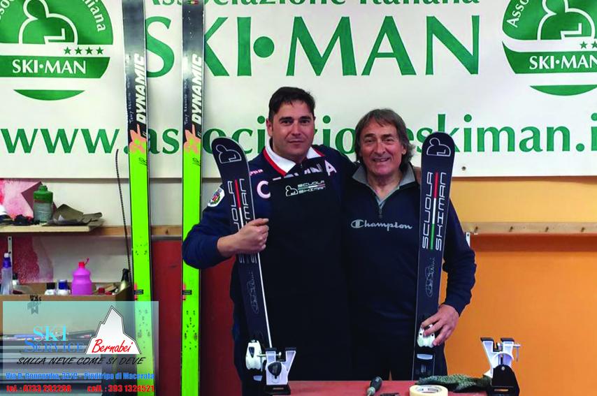 A sinistra il titolare Marco Bernabei con il maestro skiman Dino Palmi (Associazione Italiana Skiman)