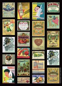 Alcune etichette antiche dei prodotti della Distilleria Varnelli