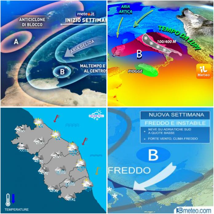 Previsioni meteo - Credits: 3bmeteo, Geometeo, Meteo Italia e Ilmeteo.it