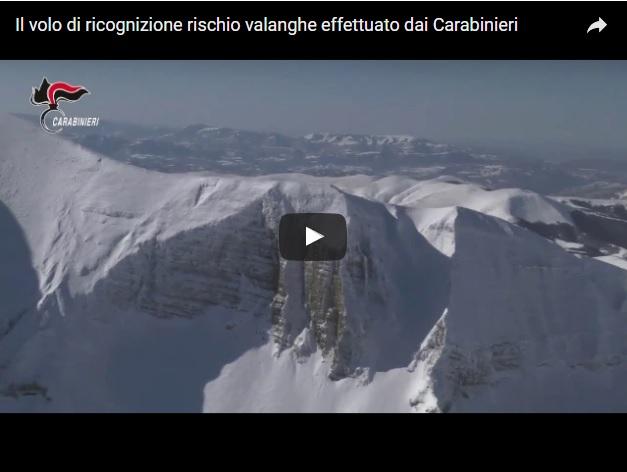Il video del volo di monitoraggio per i rischio valanghe sui Monti Sibillini - Credits Carabinieri