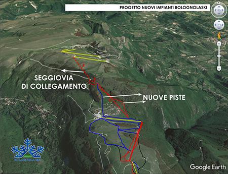 Il progetto di ampliamento degli impianti e piste di Bolognola proposto dalla società Funivie Bolognolaski