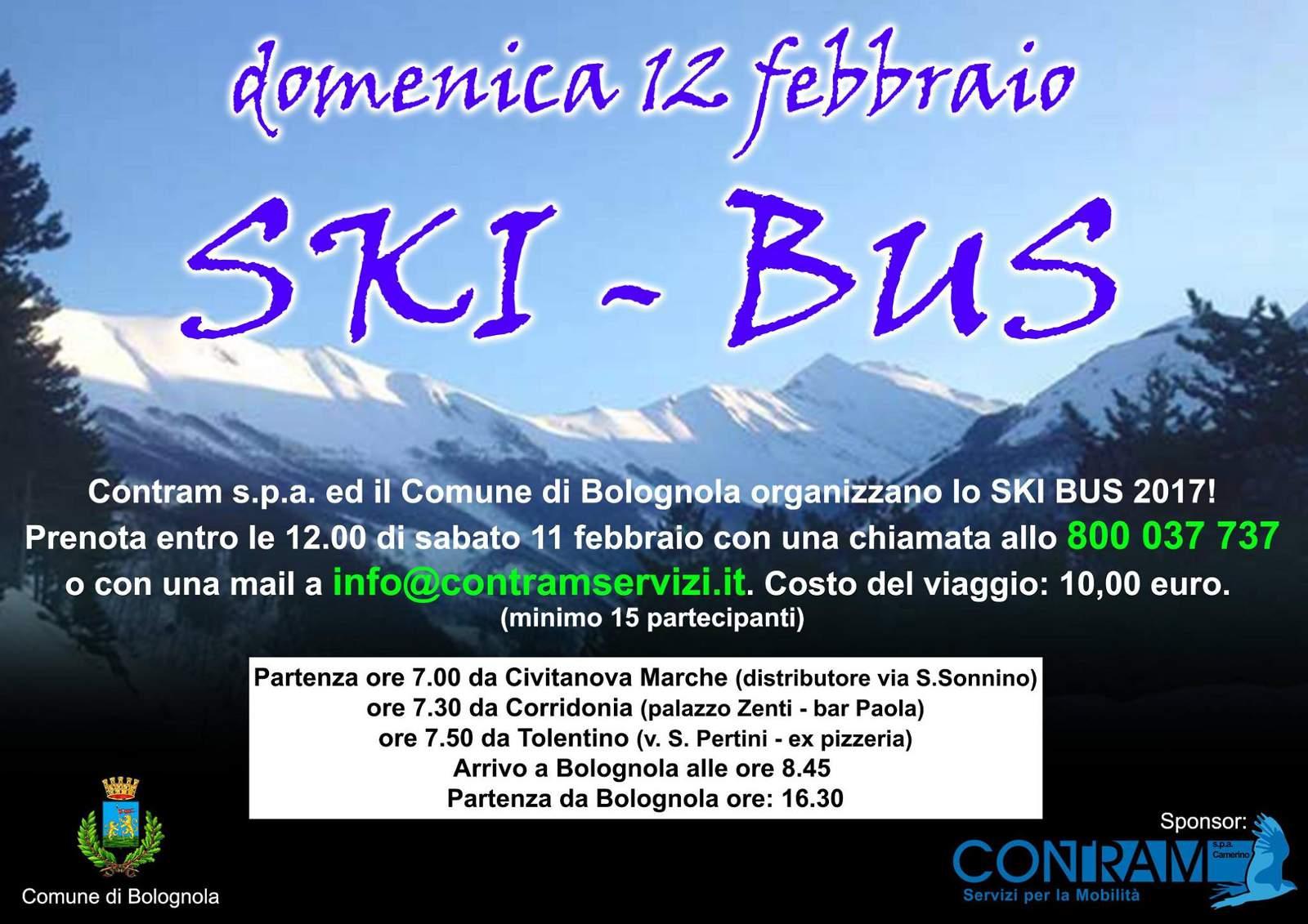Contram servizio ski bus località sciistica Bolognola