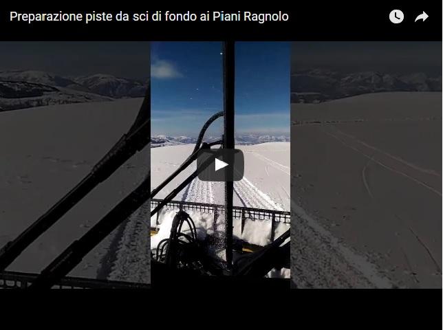 Il video girato da Simone Polverini mentre viene preparato il tracciato al Centro Fondo e Snowkite di Monte Ragnolo nel comune di Acquacanina.