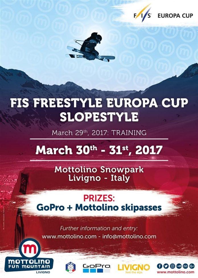 La coppa Europa di Freestyle Slopestyle arriva al Mottolino di Livigno il 30 e 31 marzo 2017
