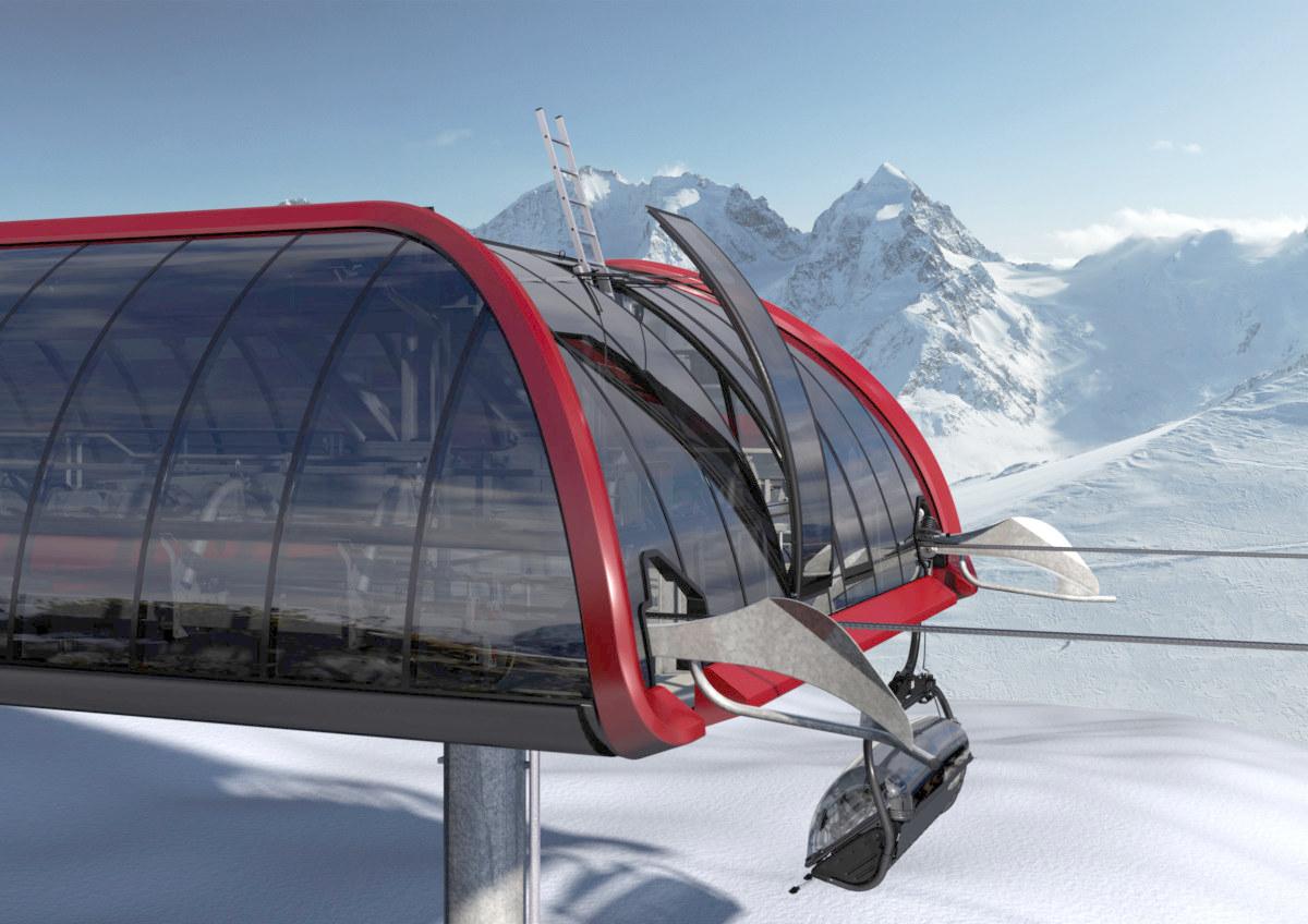 Nuova stazione Leitner ropeways firmata da Pininfarina - apertura tetto