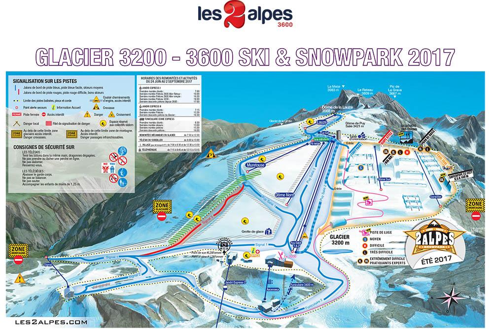 La cartina delle piste e degli impianti del ghiacciaio a Les 2 Alpes 3600