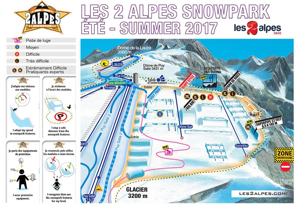 La cartina dello snowpark sul ghiacciaio a Les 2 Alpes 3600