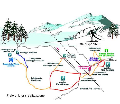 Cartina del centro fondo Sibillini a Norcia in Umbria