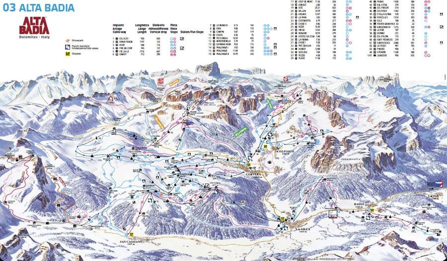 Cartina impianti e piste Alta Badia