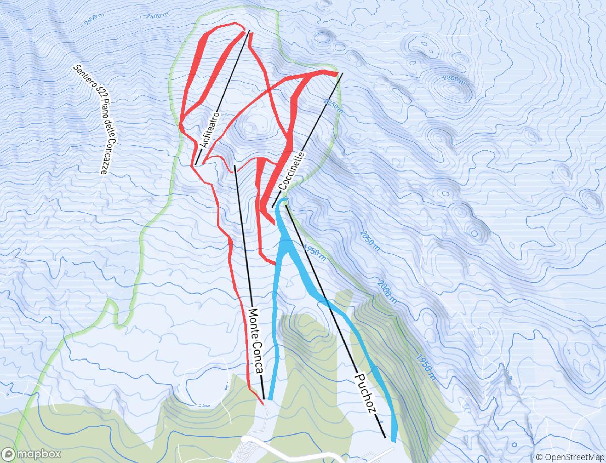 Le piste e gli impianti all'Etna Nord