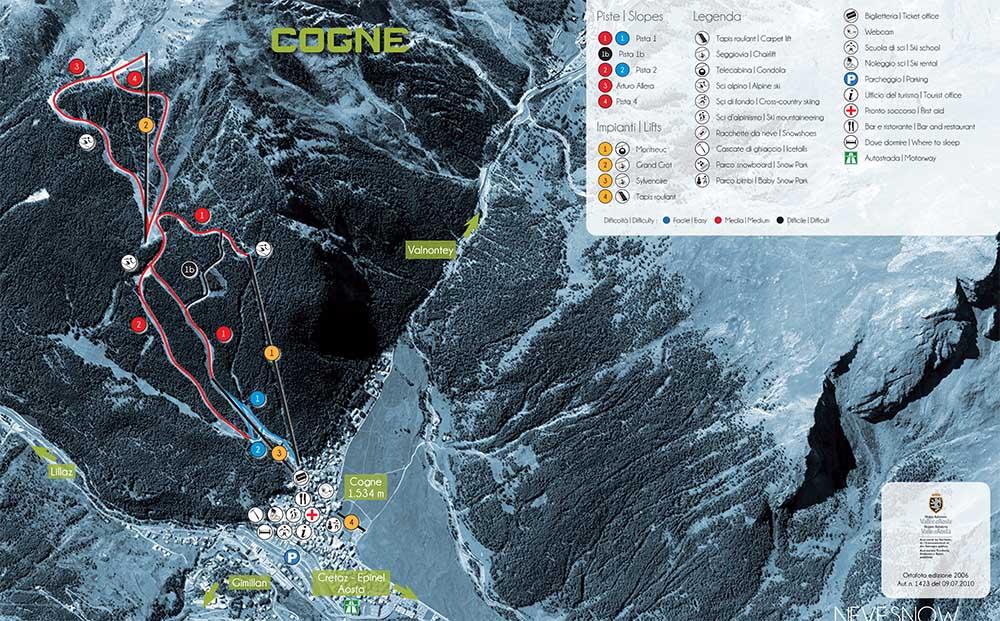 Cartina piste sci di alpino, Cogne in Valle d'Aosta