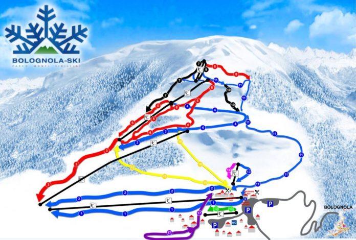 La cartina delle piste sci e impianti della stazione sciistica Bolognola