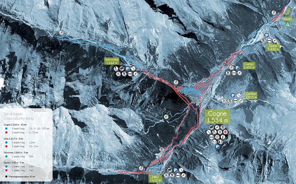 Cartina piste sci di fondo, Cogne in Valle d'Aosta
