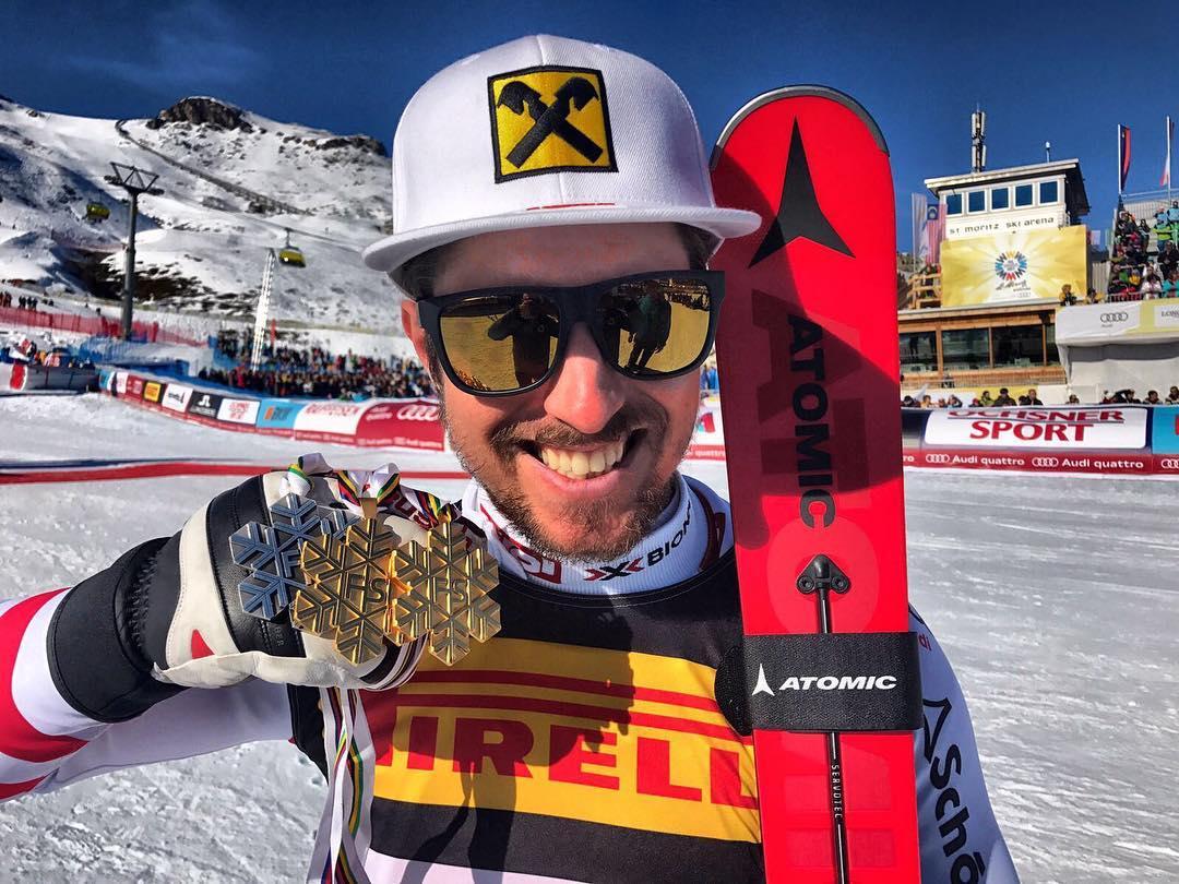 Marcel Hirscher con le medaglie