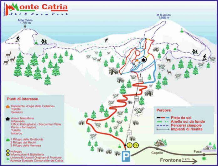 Cartina impianti mappa piste Monte Catria