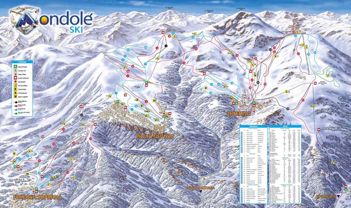 Cartina impianti e piste Mondole ski