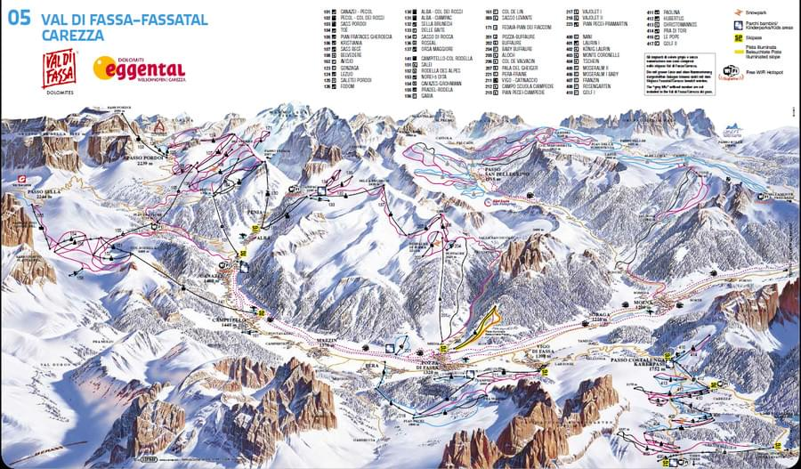 Cartina impianti e piste Val di Fassa