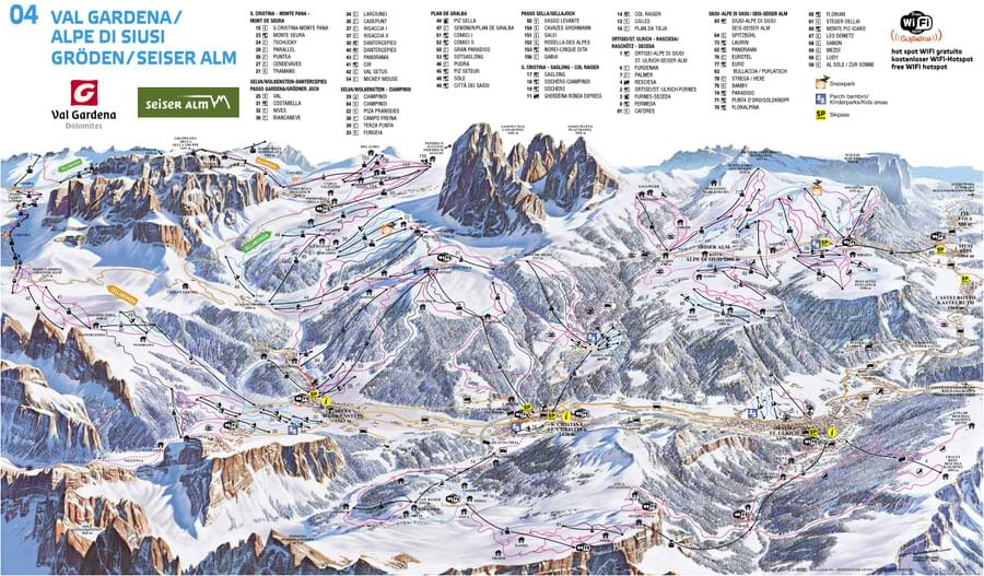 Cartina impianti e piste Val Gardena Alpe di Siusi