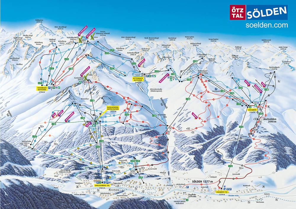 Cartina piste e impianti della località sciistica Soelden, Austria