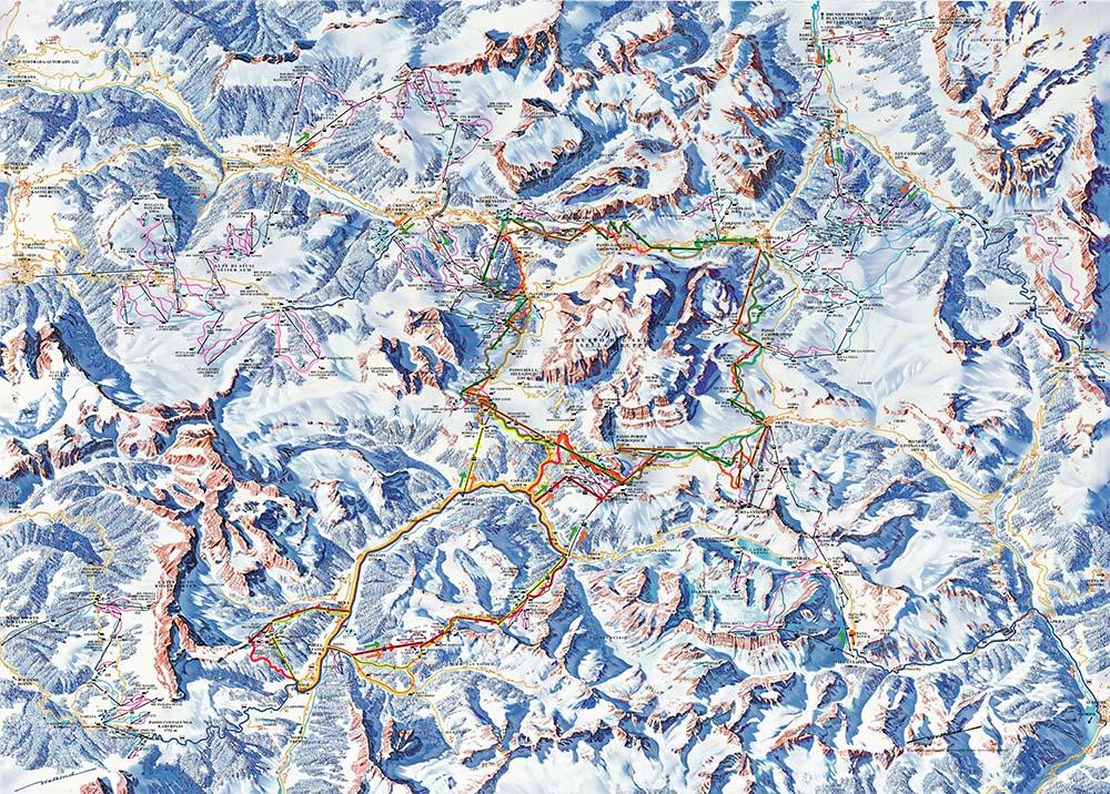 Giro del Sellaronda cartina impianti e piste