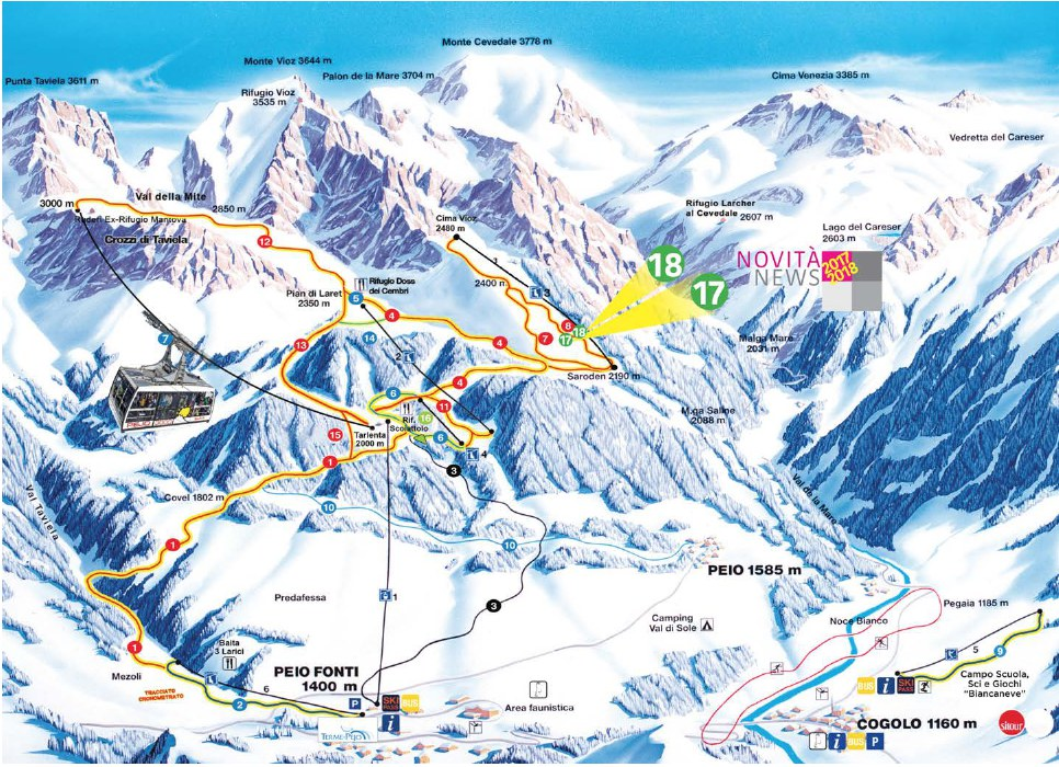 Cartina impianti e mappe piste da sci Pejo